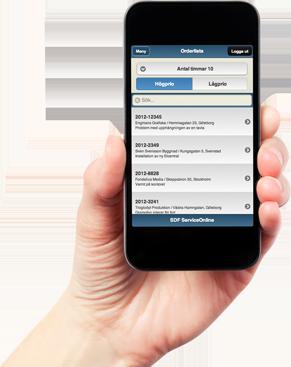 SDF ServiceOnline på mobil i handen